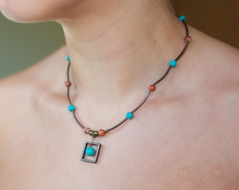 Boho Necklace. Tribal Necklace. Tropical Necklace. Square Necklace. Earthy Necklace. Hippy Necklace. Turquoise Necklace. Copper Necklace
