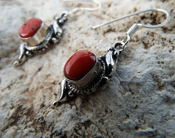 Coral Earrings Sterling Silver 925 Drop Dangle Gemstone Jewelry