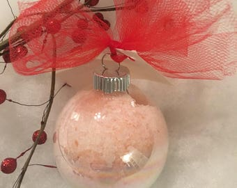 Bath salts, peppermint, essential oils , peppermint bath salt ornament, Christmas gift, stocking stuffer
