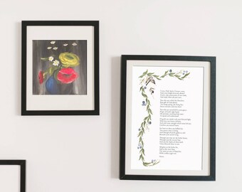 """Ralph Waldo Emerson quote, 8x10"""", watercolor vines, gift under 10, gift for teacher"""