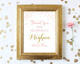 Thank You for Showering the Bride with Love . Bridal Shower Personalized Welcome Sign . Printable . Pink and Gold Bridal Shower Printable