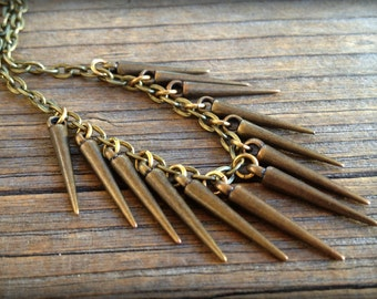 Bronze Spike Necklace on Cable Chain - Layering Jewelry