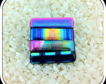 Pendant and Brooch Dichroic Glass in Bright Rainbow Metallics - Square Shape - Pin Fitting With Bail Loops  - Gift Boxed