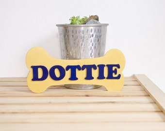 Doghouse Name Plaque - New puppy owner gift - Personalized Decorative Name Sign - BONE Shaped - Gift for Dog Lover - Puppy Mommy decor