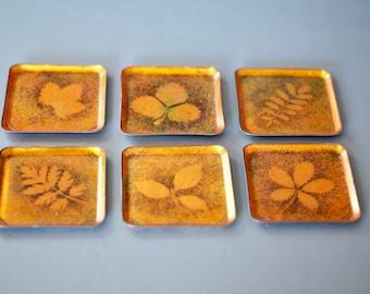 ENAMELLED COPPER Coasters, Set of Enamel Coated Copper Coasters, Enamelled Coasters, Gold Coasters, Brass Coasters, Enamel Coaster Set