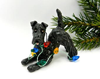 Kerry Blue Terrier Porcelain Christmas Ornament Figurine Lights