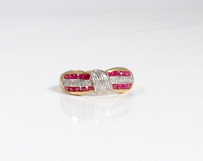 Estate Ruby and Diamond Ring; Ruby and Diamond Ring; Ruby and Diamond Band Ring; Ruby and Diamond Wedding Band Ring