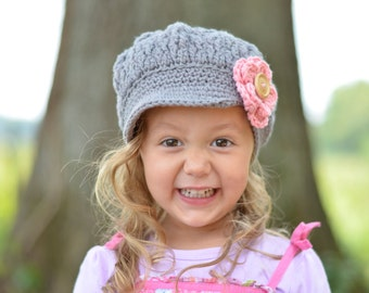 Girls Crochet Hat with flower, Crochet Newsboy Hat, Hats for Girls, Grey Hat, Little Girl Hat, Slouchy Beanie with Brim, Grey and Pink Hat
