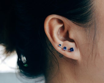 September Birthstone Blue Sapphire Ear Climbers Sterling Silver