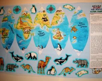 Animals Around The World Globe Panel Lisa McCue  Wilmington Prints OOP  Atlantic Ocean, Pacific Ocean, Australia, Africa ,South America