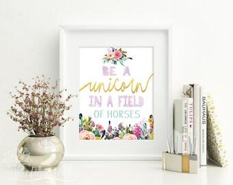 8x10 11x14 DIGITAL Unicorn print, unicorn watercolor, unicorn wall art, unicorn art, unicorn decor, unicorn nursery, Purple unicorn print