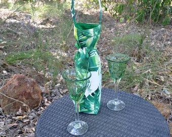 Wine cooler, insulated BYO bag, Green leaf tropical tote,