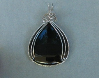Black Obsidian Pendant Wrapped in Sterling Silver Wire