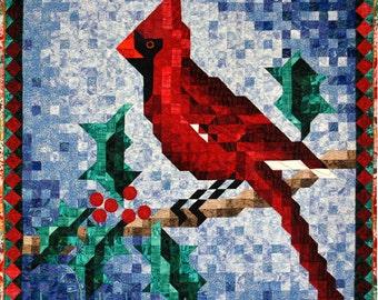 PDF Christmas Quilt Pattern - Cardinal Mosaic Art Quilt Pattern - Immediate Download