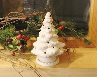Ceramic Mini Lighted Christmas Tree,  Votive Candle Holder, White Porcelain