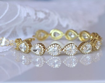 Gold Teardrop Crystal Bracelet, Gold Bridal Bracelet, Gold Bridal Jewelry, TAMARA G