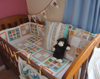 Nursery set - Jungle baby - 6 items avalible as set or seprarately. Unisex. Cot quilt, bumper, cot tidy, bunting, cushion covers.