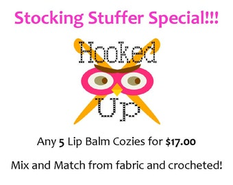 Keychain Lip Balm Cozy Deal - Any 5 for 17.00 - Mix and Match