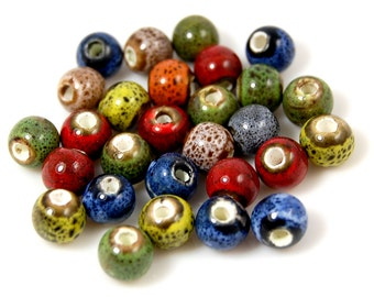 Antique Glazed Porcelain, Bohemian look 6mm round bead -25
