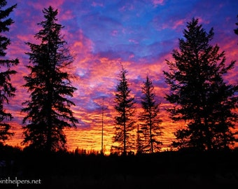 Exquisite Sunset, Montana Sky, Magical Journey, Rainbow of colors, Evening Light, Photograph or Greeting card