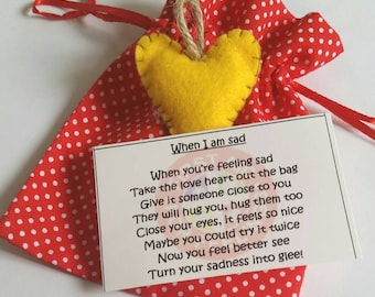 When I am sad poem. First aid for feelings. Love heart. Emotional literacy. Mental health. Hug. Helping children with their feelings.