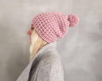 Grobstrick - Grobstrick Bommel Hut - Bommel Mütze - rosa - Strickmütze - Chunky Beanie - Pom Pom Beanie - Geschenk für sie - Weihnachtsgeschenk