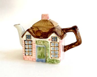 Ceramic Cottage Teapot, Handcrafted in Thailand, 30 Fluid Ounces, Colorful Ceramic, Cottage Chic