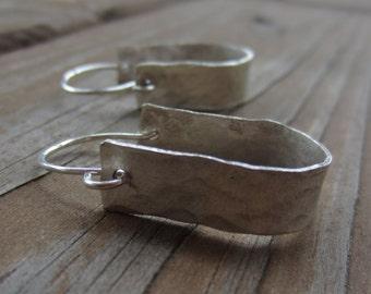 Hammered Silver Hoop Earrings, Horseshoe Earrings