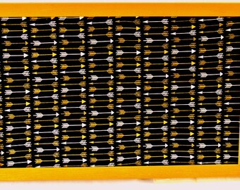 Gold and White Arrows on Black Fabric Cork Board Golden Ochre Wood Frame 17x11 Tack Board Fabric Covered Bulletin Board Message Board