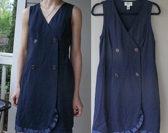 1990s Blue Wrap Dress Double Breasted V Neck Single Ruffle- Size 4