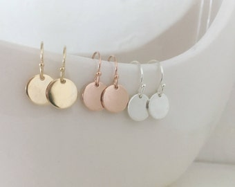 Disc earrings, sterling silver, rose gold, yellow gold, dangle earrings, mothers day gift, minimalist, round disc earrings
