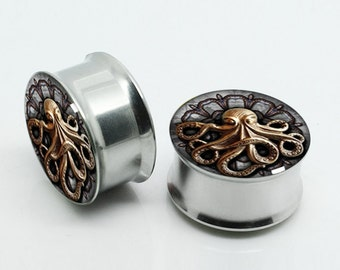 Steampunk Octopus Plugs,-Pairs Titanium Anodized Double Flare Ear Plugs Tunnels Earlets Gauges