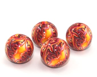 Red yellow and orange round beads, Polymer Clay abstract beads. Set of 4 unique beads