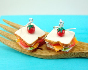 Sandwich Earrings // Ham and Cheese Earrings // Food Jewelry // MADE TO ORDER