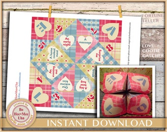 Easy DIY romantic craft project. Love Cootie catchers. Fortune tellers. Instant digital instant download.