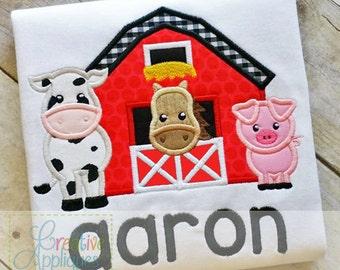 Barn Farm Animals Digital Machine Embroidery Applique Design 5 sizes, barn applique, farm animals applique, barn animals applique,