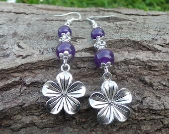 Amethyst Flower Earrings, Gemstone Flower Earrings, Silver Flower Earrings, Flower Jewelry, Floral Earrings, Amethyst Jewellery