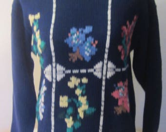 Vintage 80's Women's Sweater Outback Red Limited Floral Preppy Heathers