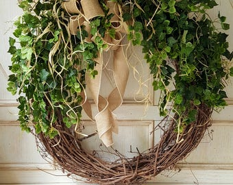 "BEST SELLER 30"" Front door wreath, Greenery Wreath -Wreath Great for All Year Round - Everyday Burlap Wreath, Door Wreath, Front Door Wreath"