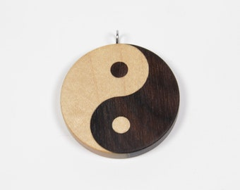 Wooden Yin Yang Pendant, Yin Yang Necklace, Yin Yang Symbol, Yin Yang Charm, Yinyang Pendant, Yinyang Necklace, Taijitu, Ziricote, Maple