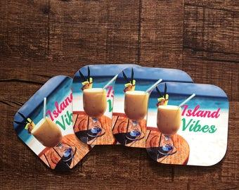 Assorted Set of 4 Coasters/ Coffee/Island Vibes/Leo/BYOF/Island Time.