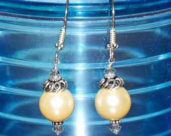 Handmade Bali Sterling Silver 12mm Gold Shell Pearl Drop Earrings