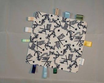 Handmade light blue square blanket