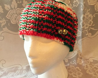 Knitted Christmas Headband Ear Warmer with Jingle Bells