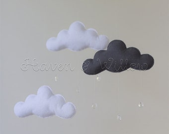 Dark Grey and White Felt Cloud Mobile with Drops Baby Nursery Decor