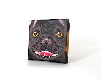 "French Bulldog Art Print on Canvas - Black - French Bulldog Art - 5"" x 5"""
