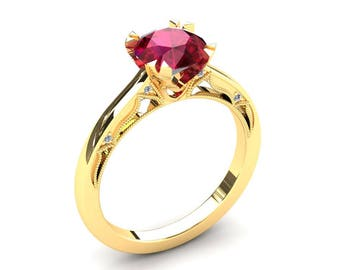 Ruby Engagement Ring 1.50 Carat Ruby And Diamond Ring In 14k or 18k Yellow Gold. Matching Wedding Band Available W22RUBYY