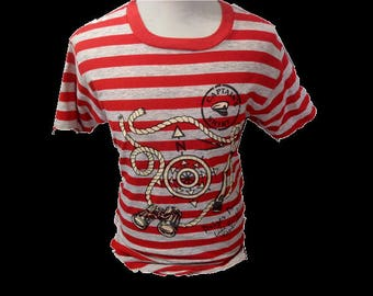 Vintage T-shirt 70s Textile Prints CAPTAIN SHIRT Striped Red Gray Made in usa