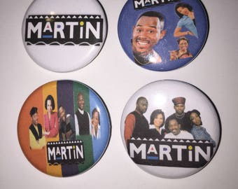 Set of 4 Martin Buttons sized at 1.25 inches - TV Comedy sitcom show 1990's Tisha Campbell Tommy Ford Payne Cole Gina In Livong Color