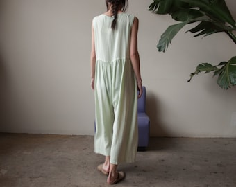 green gingham babydoll jumpsuit / babydoll oversized jumpsuit / lounger jumpsuit / s / m / 2339d / B1